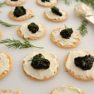 Black Caviar Appetizer with Cream Cheese and Dill