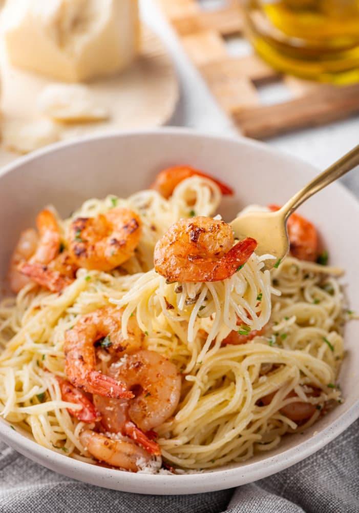Capellini Pasta in Simple White Sauce and Butter Shrimp