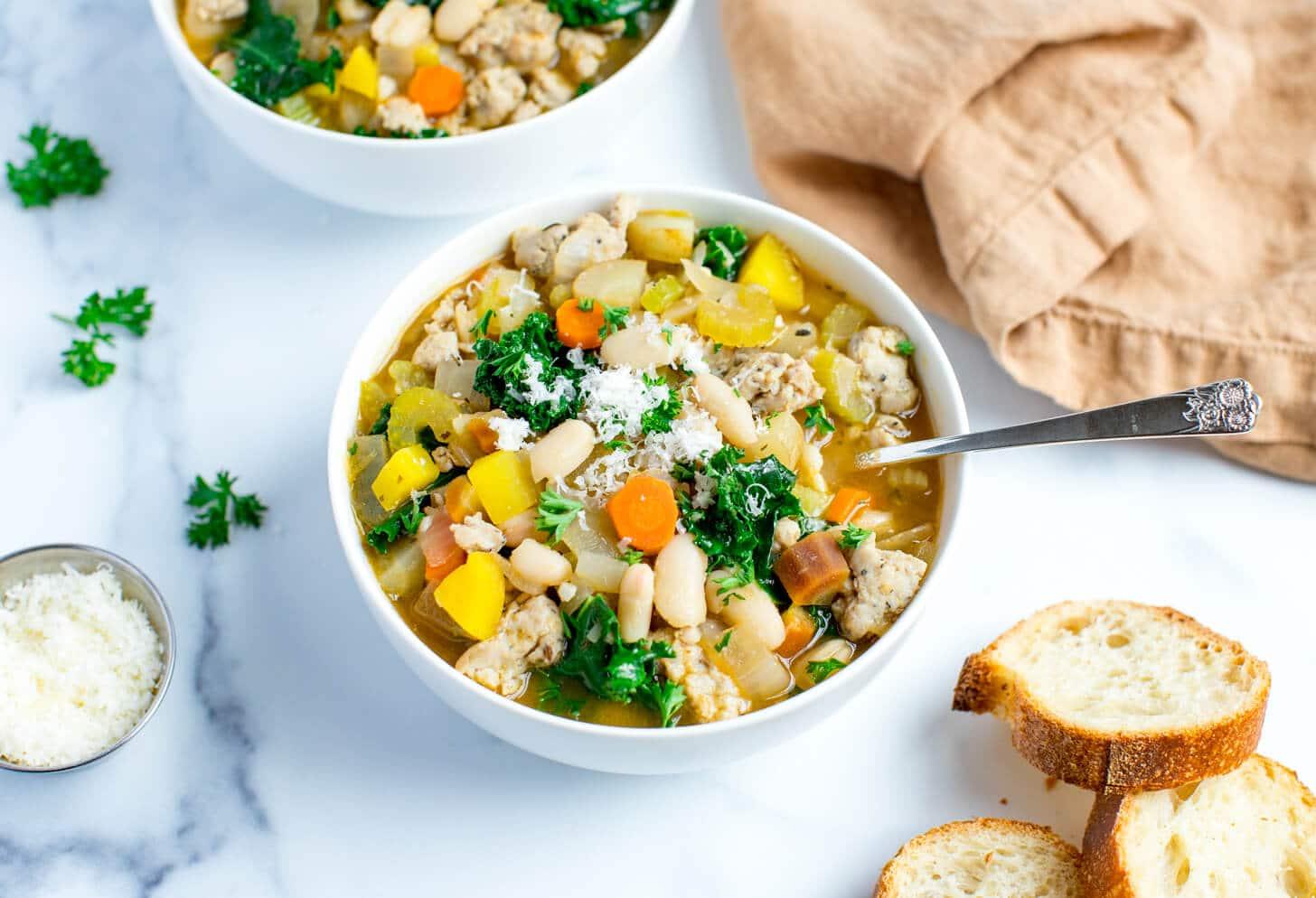 Kale Sausage and White Bean Soup Salad Menu 1