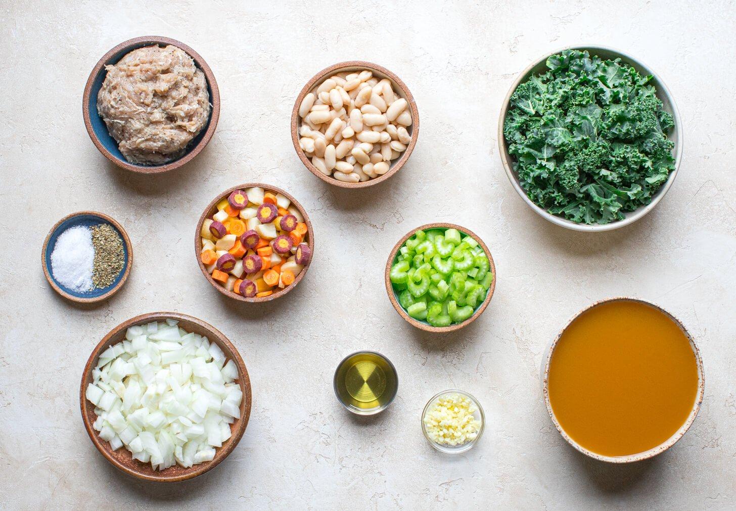 Kale Sausage and White Bean Soup Salad Menu 2
