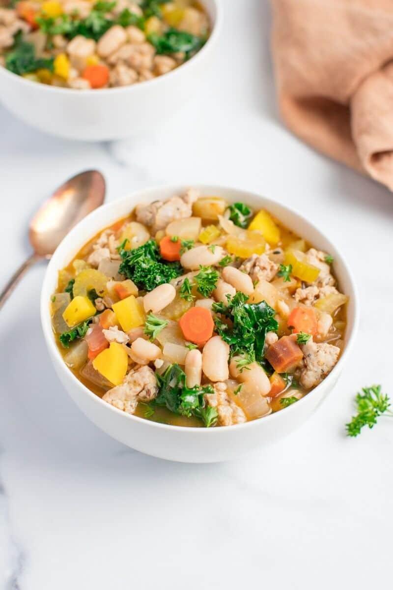 Kale Sausage and White Bean Soup Salad Menu