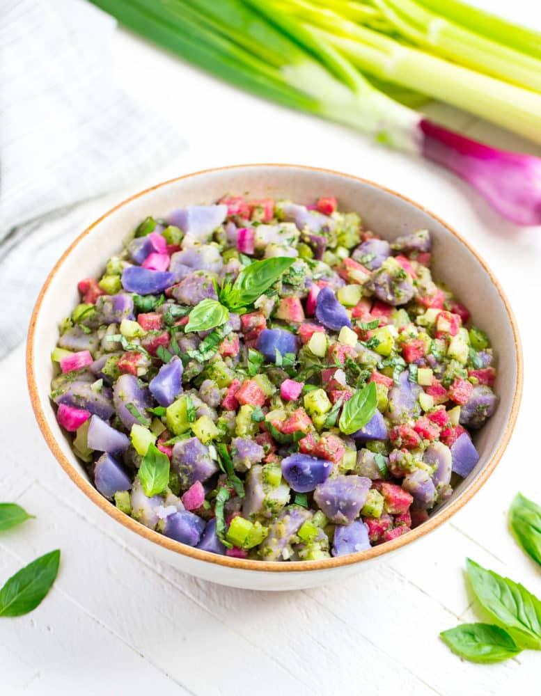 Crunchy Purple Potato Salad with Basil Vinaigrette