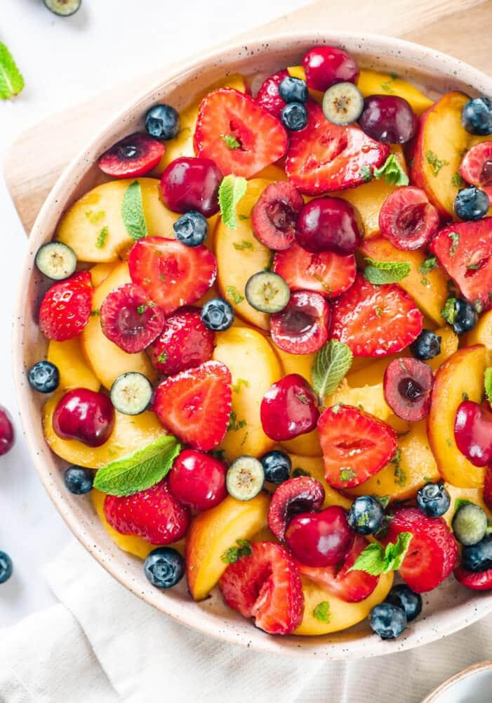 Summertime Fruit Salad with a Citrus Mint Dressing