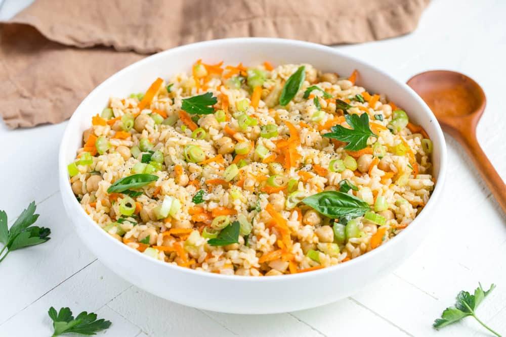 Brown Rice and Garbanzo Bean Salad