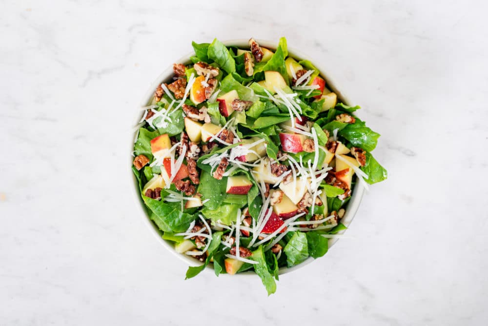 Simple Apple Salad with a Honey Vinaigrette and Cheese
